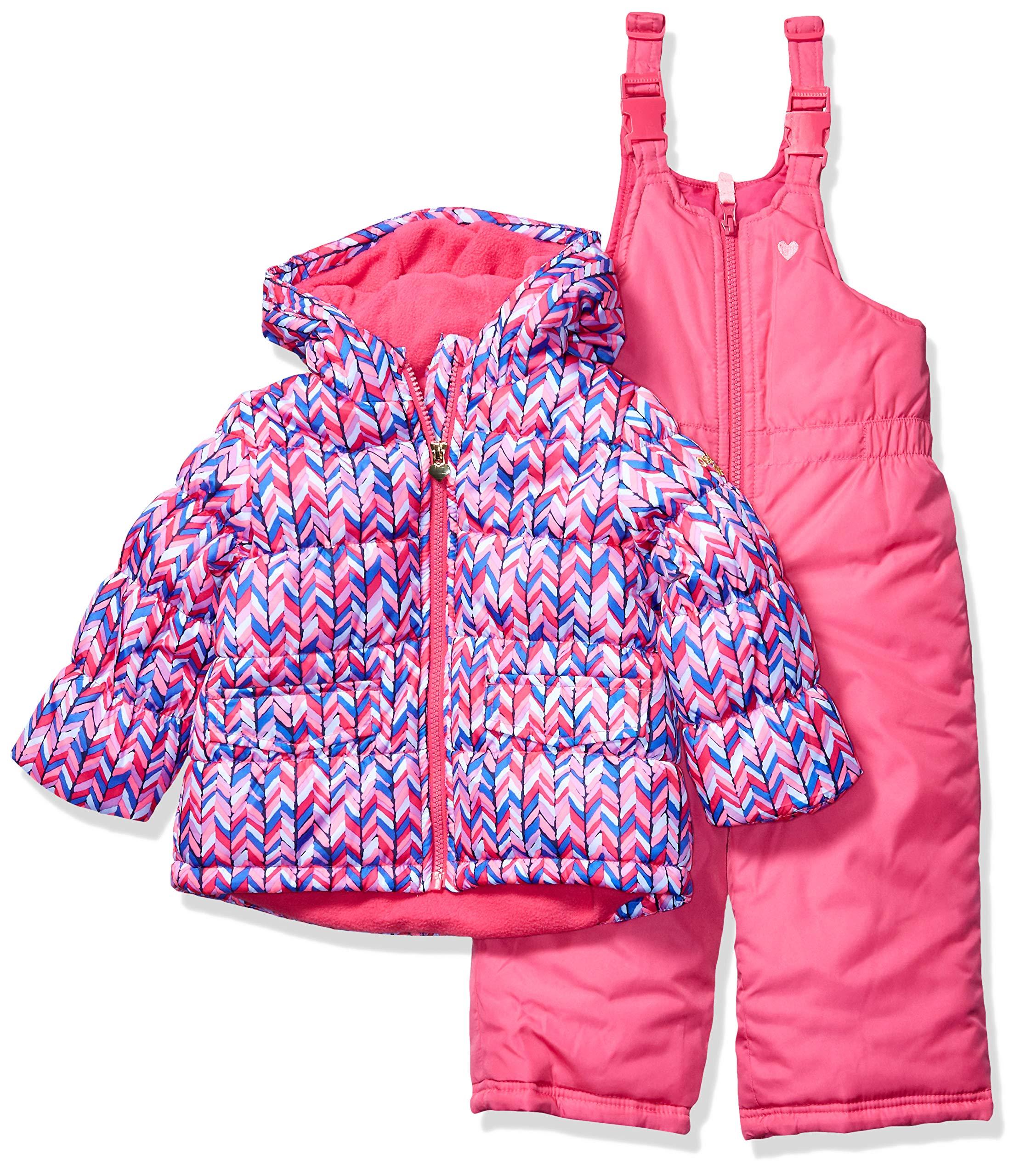 Osh Kosh Girls' Little Ski Jacket and Snowbib Snowsuit Outfit Set, Magenta Chevron Pink and Bright Pink, 5/6 by OshKosh B'Gosh
