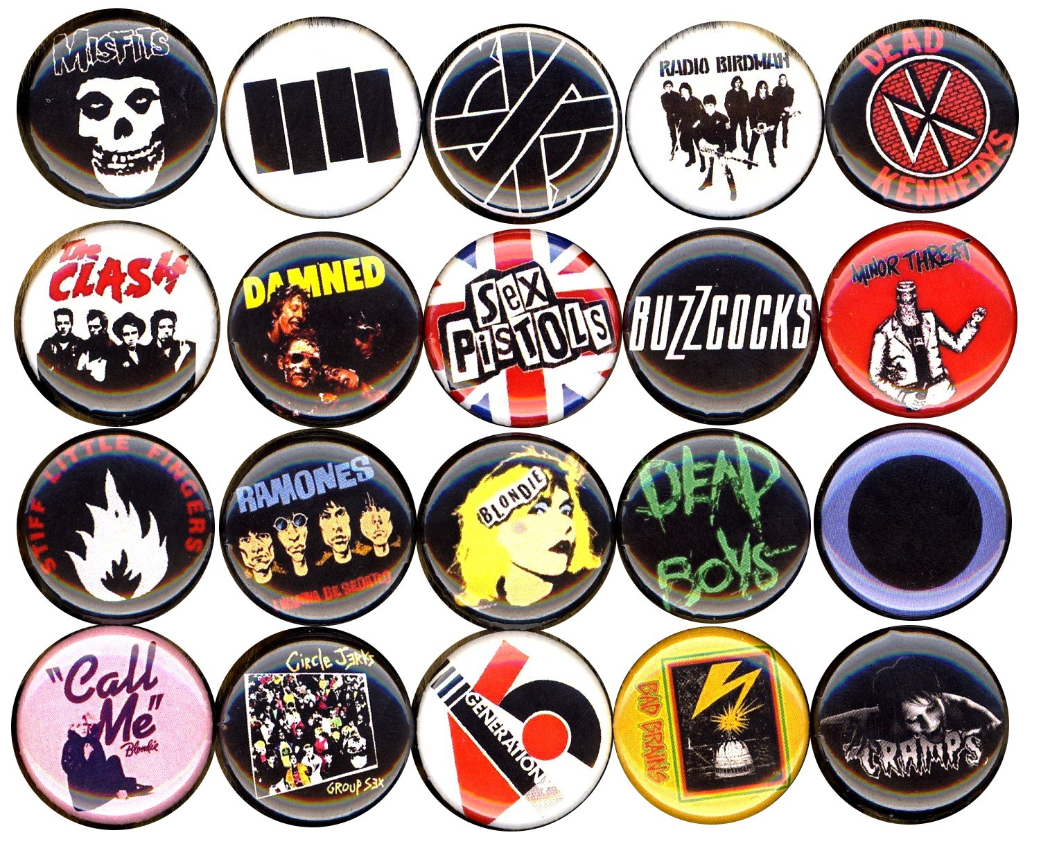 Punk button pin set of 20 1'' inch (25mm) blondie ramones clash misfits damned germs sex pistols …