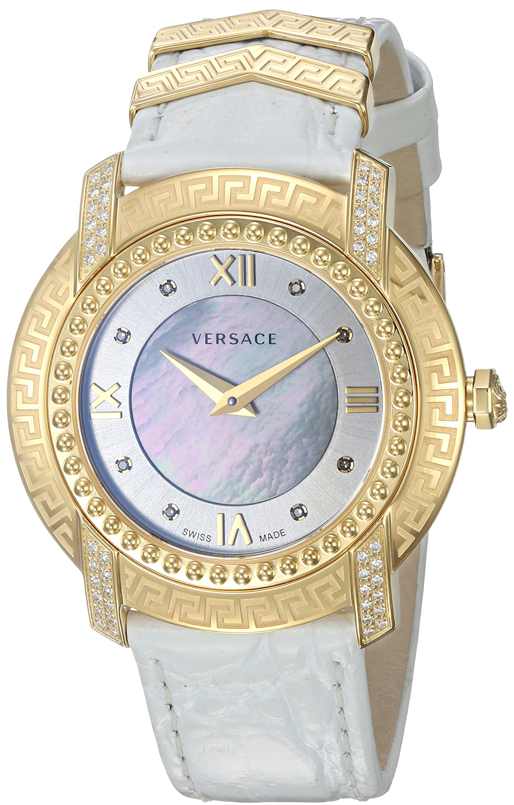 Versace Women's 'DV-25' Swiss Quartz Stainless Steel and Leather Casual Watch, Color:White (Model: VAM060016) by Versace (Image #1)