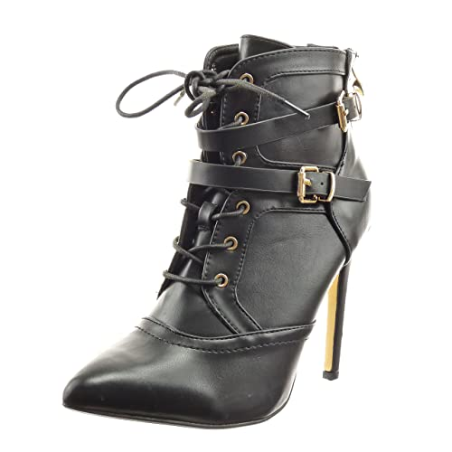 Sopily - Zapatillas de Moda Botines stiletto low boots Tobillo mujer tanga cordones Hebilla Talón Tacón