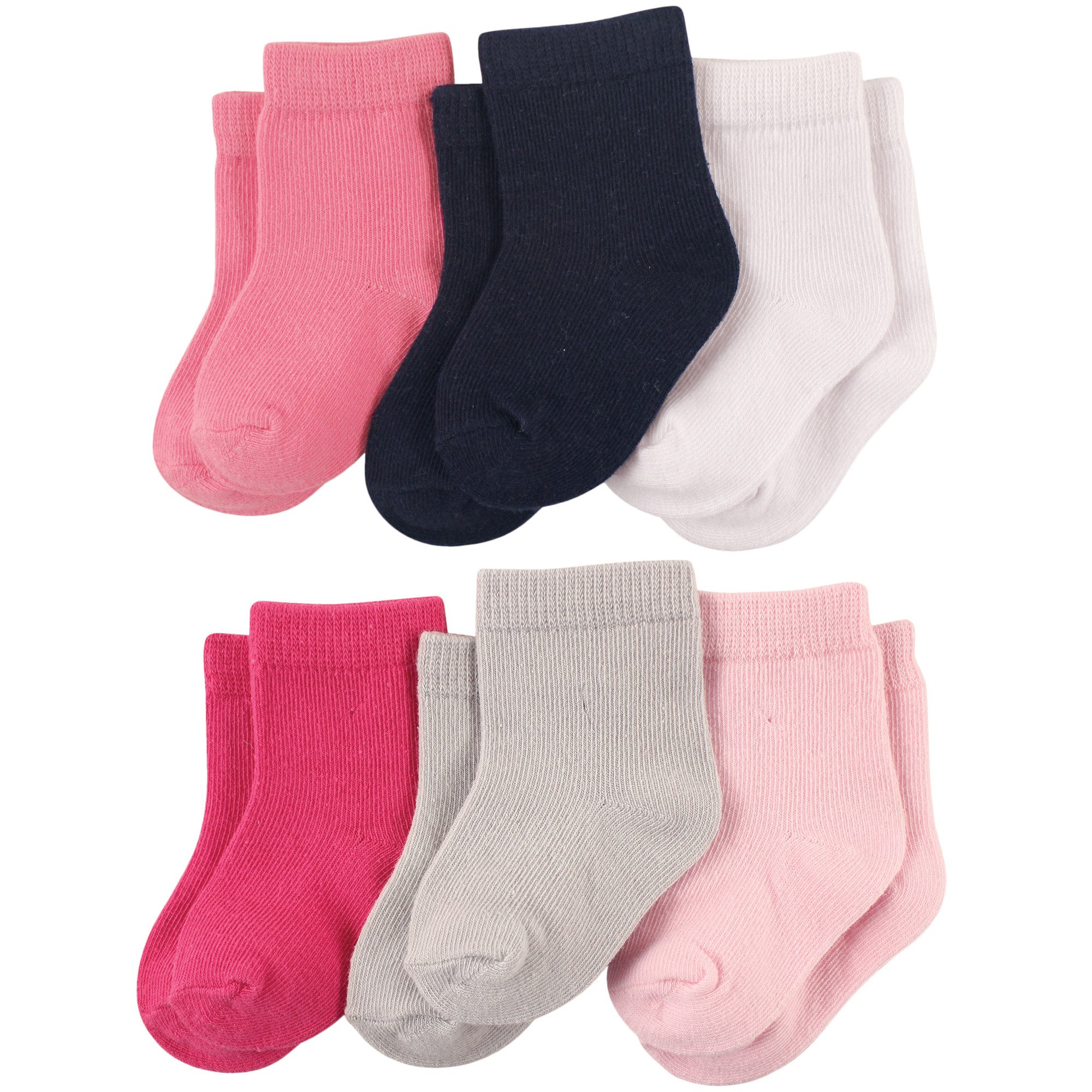 Luvable Friends Baby Solid Crew Socks 6-Pack, Pink