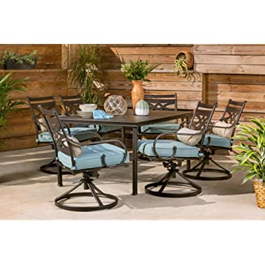 Hanover MCLRDN7PCSQSW6-BLU Montclair 7-Piece Set in Ocean Blue with 6 Swivel Rockers and a 40  x 67  Dining Table Outdoor Furniture