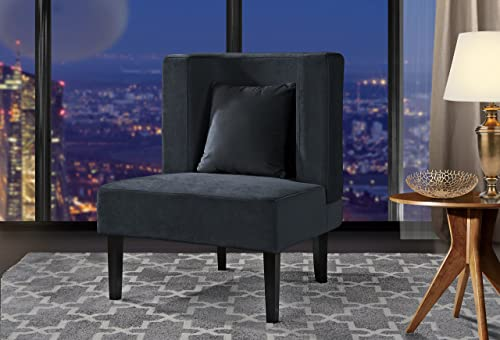 Accent Chair for Living Room, Upholstered Armless Velvet Chairs with Back Cushion and Natural Wooden Legs Dark Grey