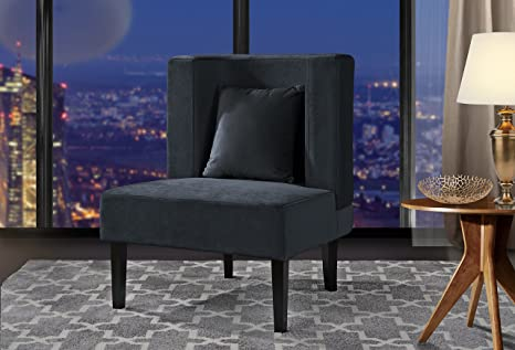 Amazing Accent Chair For Living Room Upholstered Armless Velvet Chairs With Back Cushion And Natural Wooden Legs Dark Grey Machost Co Dining Chair Design Ideas Machostcouk