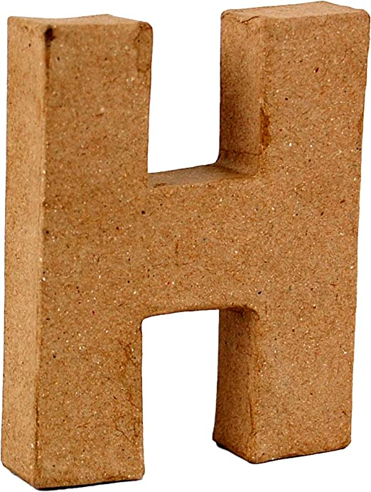 Country Love Crafts 4-inch// 10cm 3D Letter H Papier Mache by Country Love Crafts Papier Mache