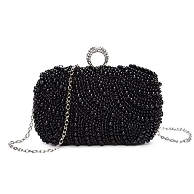 3cf04155d8e Chichitop Womens Luxury Special Crystals Beaded Pearl Evening Clutch Bag,  Black: Handbags: Amazon.com