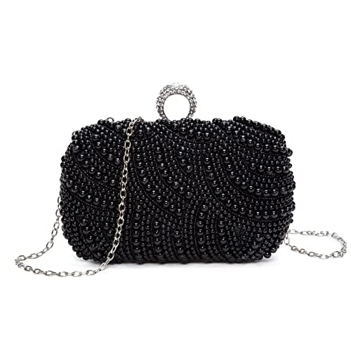 aa38b7ac6ae Chichitop Womens Luxury Special Crystals Beaded Pearl Evening Clutch Bag,  Black  Handbags  Amazon.com
