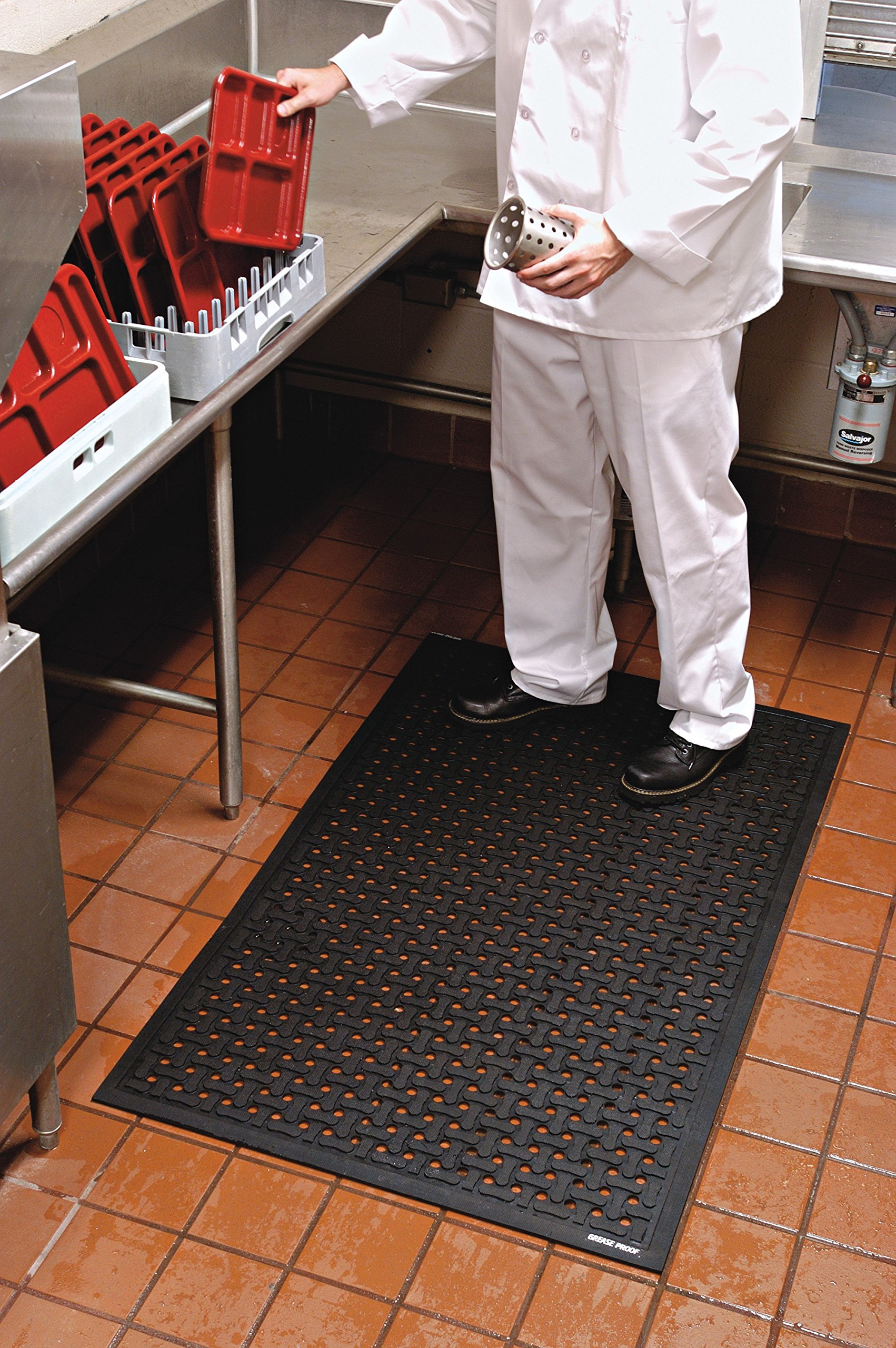 Comfort Flow Black Rubber Commercial Kitchen Drainage Mat, Anti-Fatigue, Slip and Grease/Oil Resistant 3' Length x 2' Width, by M+A Matting by M+A Matting (Image #4)