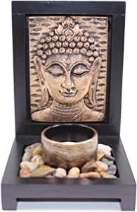 We pay your sales tax Tabletop Bronze Empaistic India Buddha Face Zen Garden with Rock Candle Holder Gift & Home Decor G16276