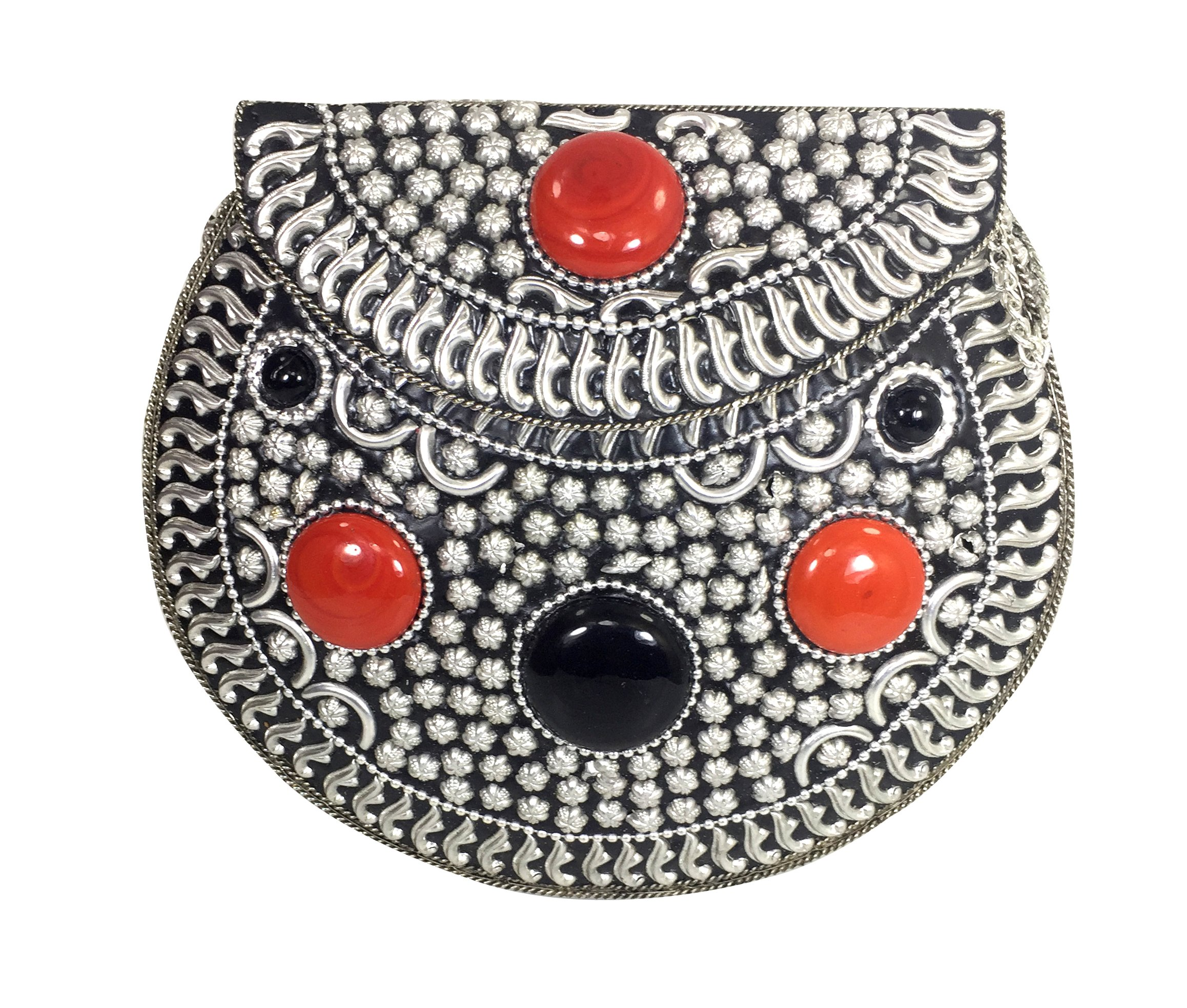 Handmade Antique Metal Glass Beads and Lac Work Clutch Wallet Handbag with Silver Chain for Women/Girls