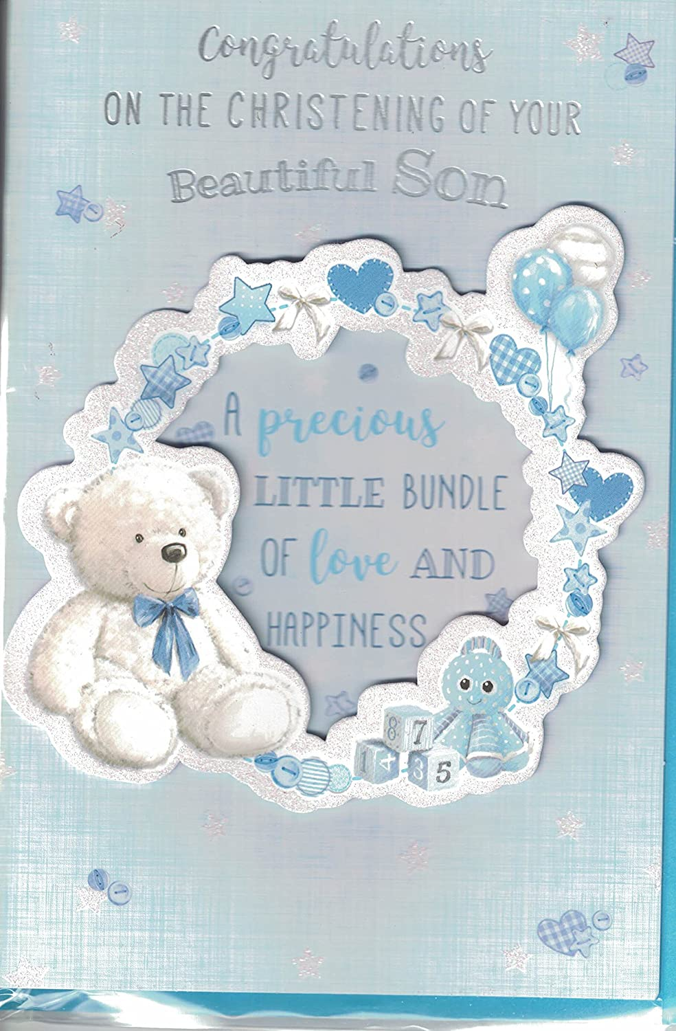 Prelude Christening Card ~ Congratulations On The Christening Of Your Beautiful Son ~ Baby Mobile Slim Card For Boys Size 23cm x 14cm