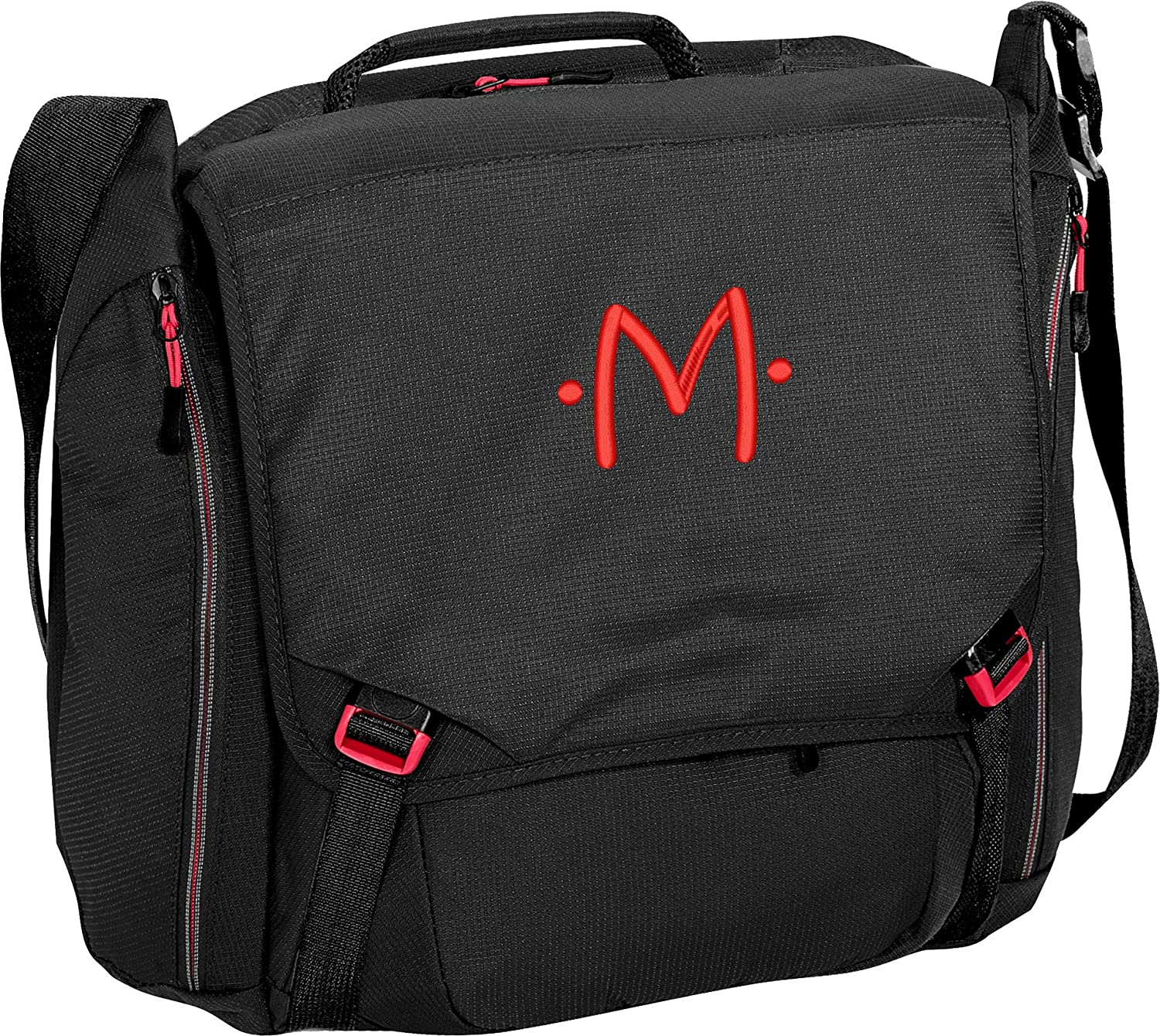Monogrammed Black//Red Cyber Messenger Bag with Red Embroidered Initial M