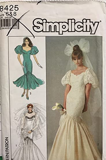 Simplicity 8425 Sewing Pattern For Mermaid Formal Or Wedding Gown Cocktail Dress With Sweetheart