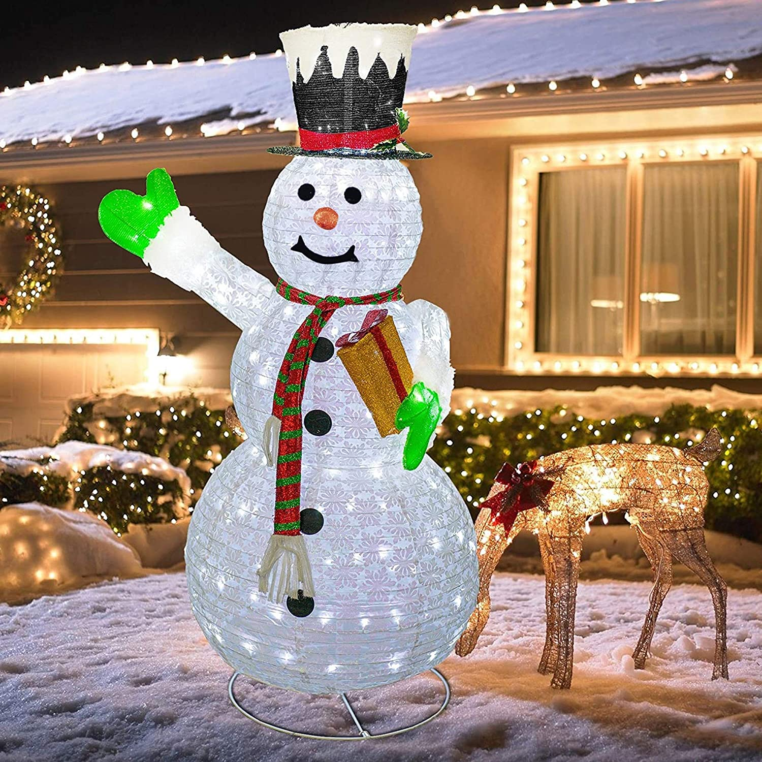 6ft Pop Up Tinsel Snowman with White LED/'s Indoor Christmas Display