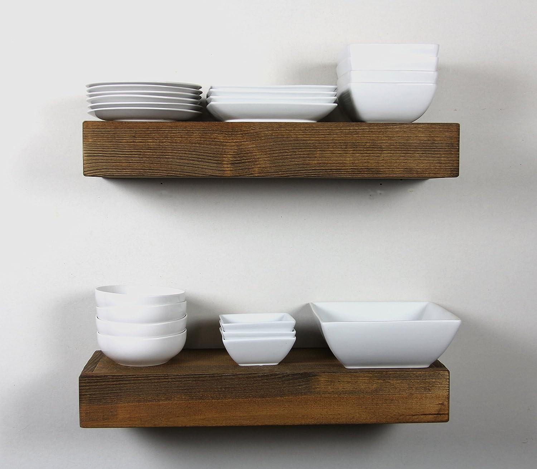 Amazoncom Solid Rustics Handmade Rustic Modern Wooden Floating Wall Shelves,