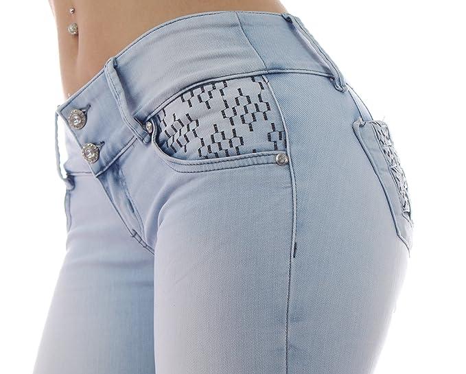 ZARINA ® Moda de impresión elástico de la mujer pantalones vaqueros Colombiano 1660, Push up / Levanta cola, con talla XS-XXXL (EU(46-48)--18): Amazon.es: ...