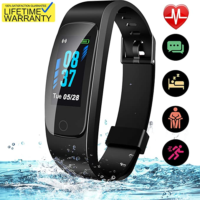 Updated 2019 Version High-End Fitness Tracker HR, High-End Activity Trackers Health Exercise Watch with Heart Rate Sleep Monitor, Smart Band Calorie Step Counter, Pedometer Walking for Men Women Kids best fitness tracker watch