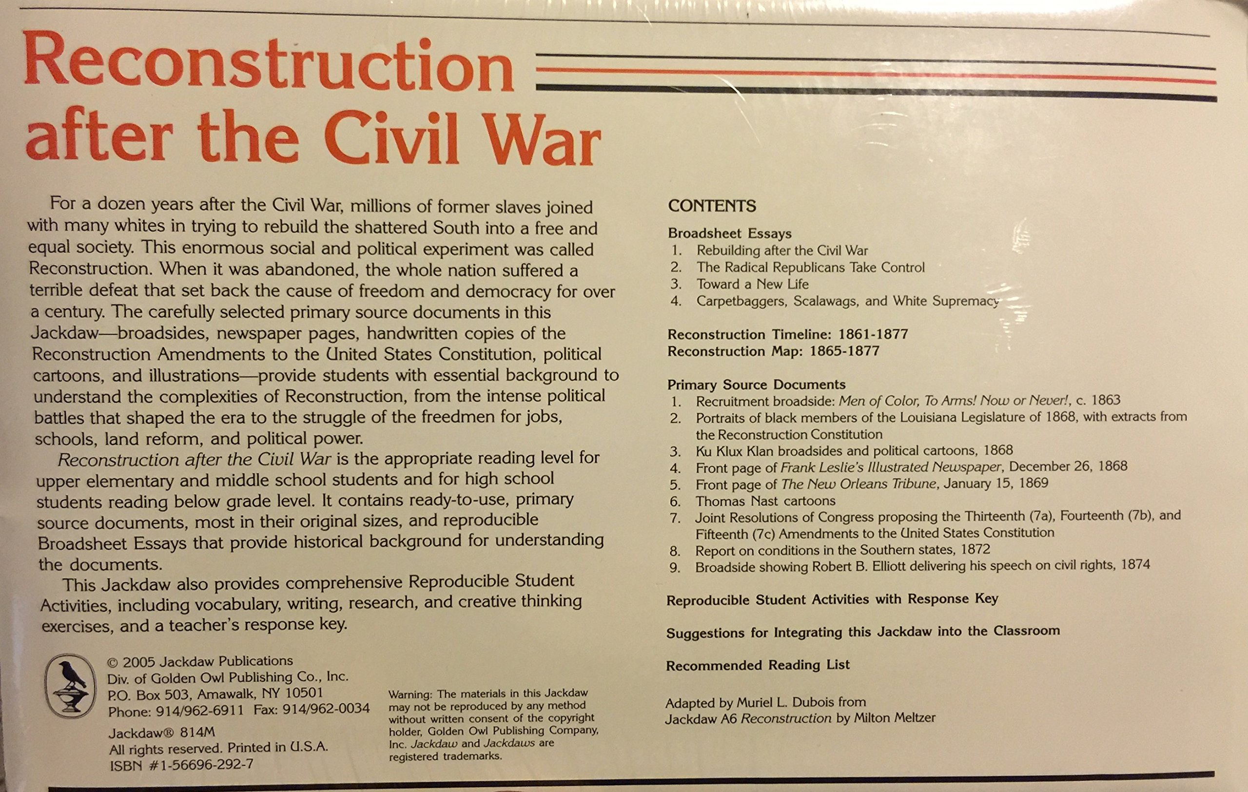 Amazoncom Reconstruction After The Civil War   Amazoncom Reconstruction After The Civil War  Milton  Meltzer Books Research Sources Online also Paper Vs Essay  Essays On Science And Technology