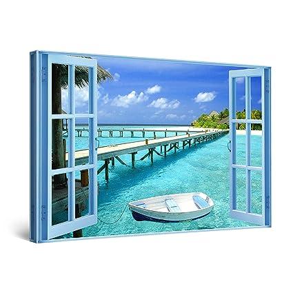 493fb7df9c6 Amazon.com  STARTONIGHT Canvas Wall Art - Window to Paradise Beach ...