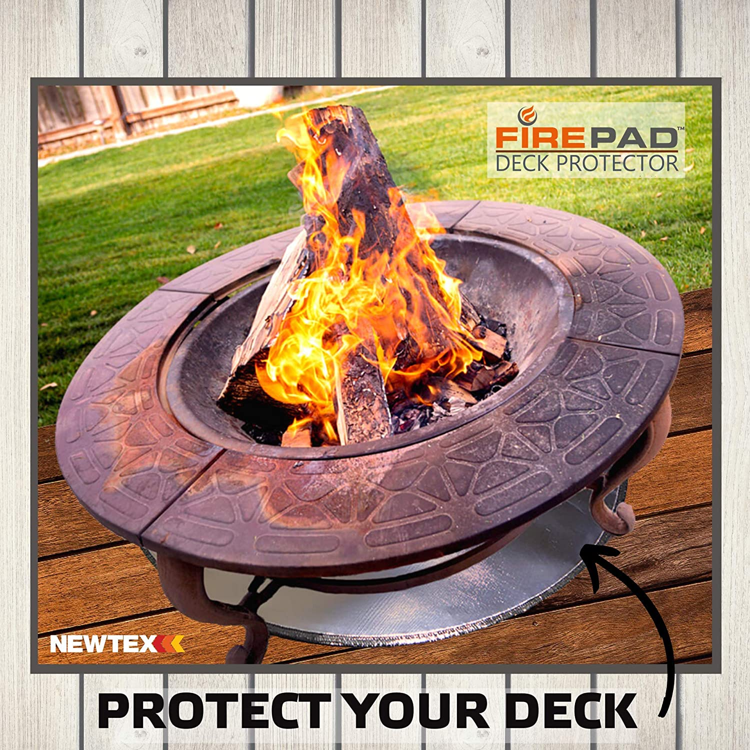 Newtex Firepad Deck Protector 24 Fire Pit High Temp Mat Heat Shield Protects Grass Patio Deck Fire Resistant Pad For Outdoors Bonfires Under Grill Mat Bbq Mat Made In Usa Garden Outdoor Amazon Com