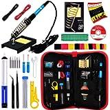 Soldering Iron Kit - Soldering Iron 60 W Adjustable Temperature, Solder Wire, Tweezers, Soldering Iron Stand, Soldering…