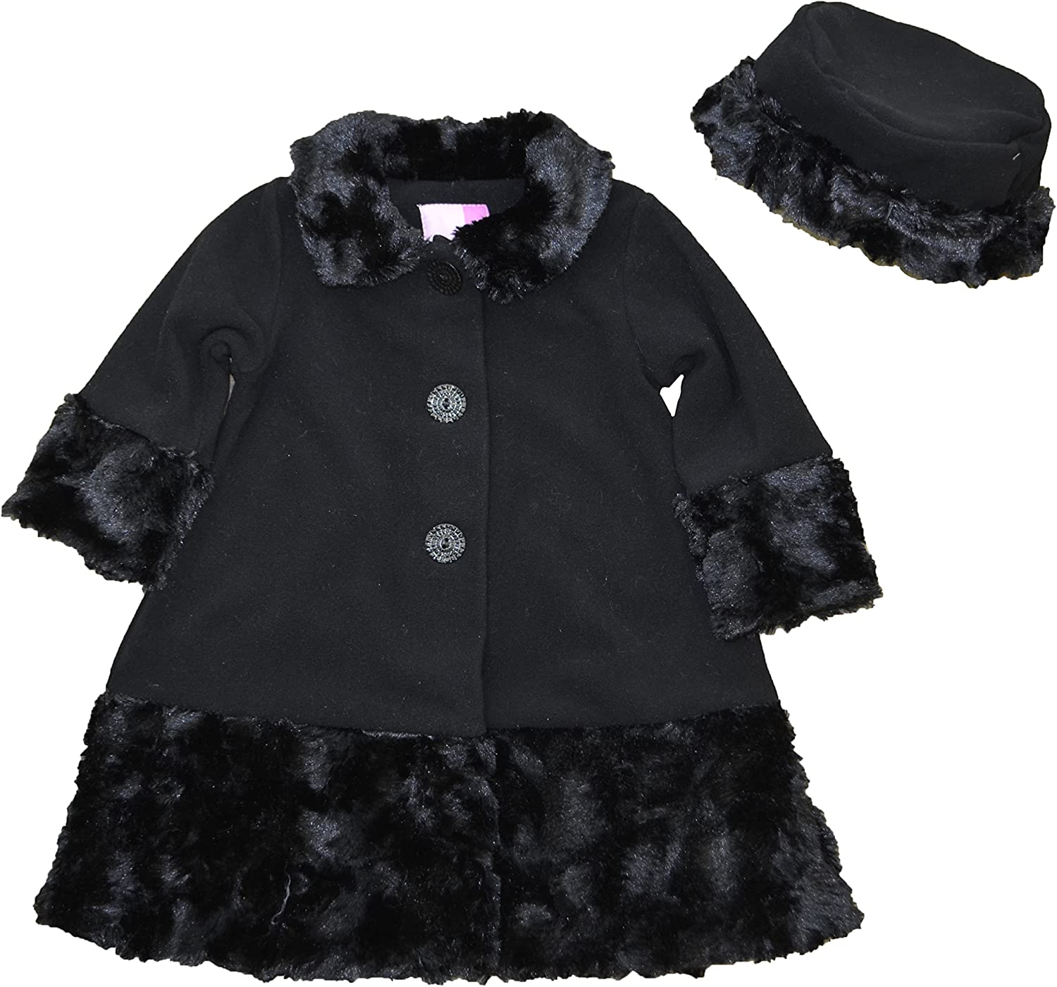 Baby-girls Pink Fleece Coat and Hat with Faux Fur Trim