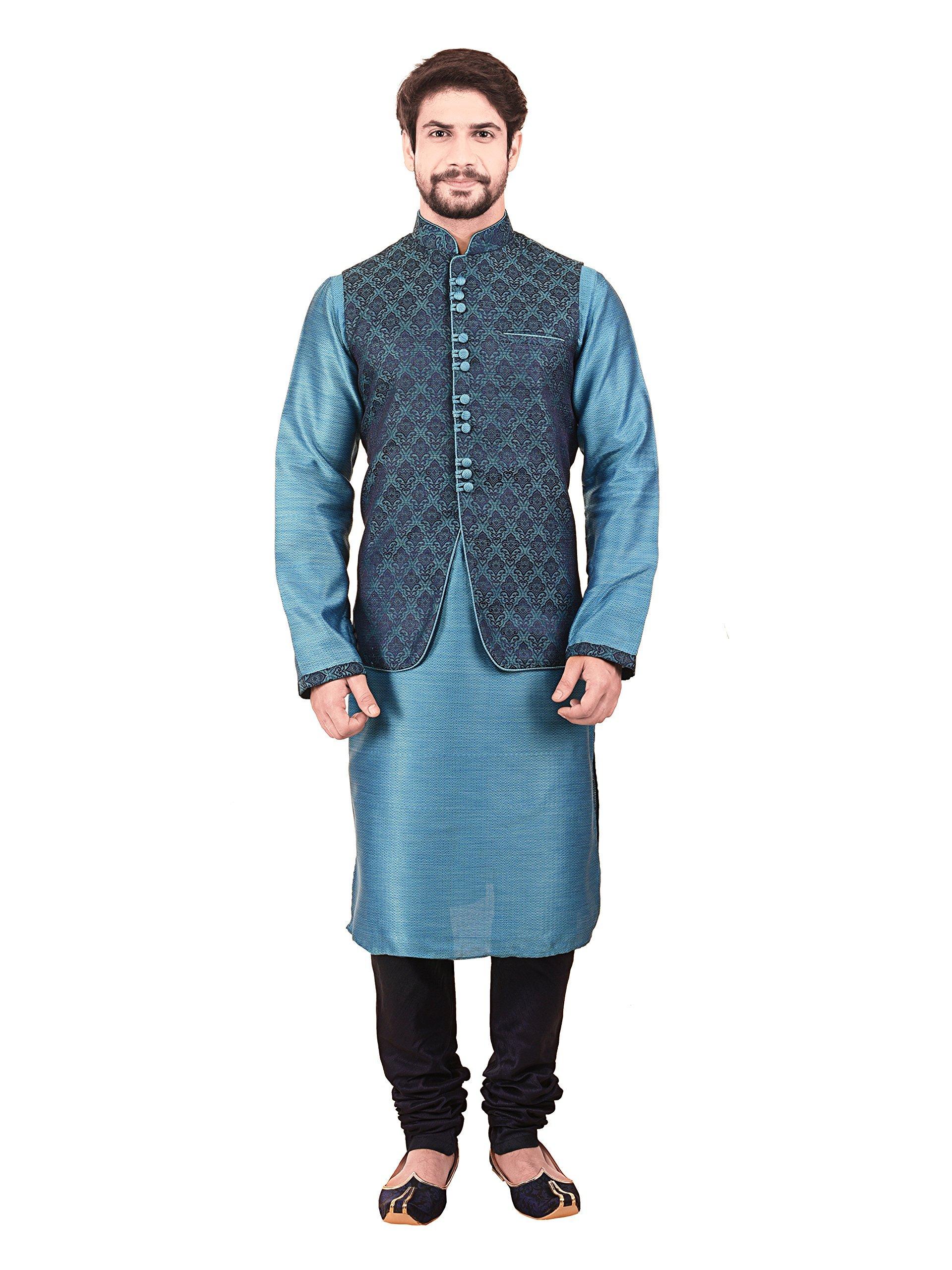 Manyavar Men's Kurta Pyjama And Jacket Set Large Feroze