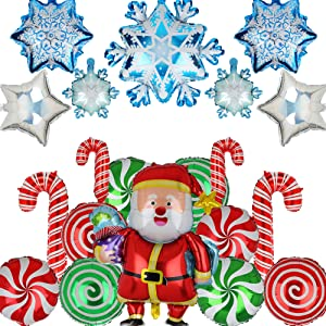 Christmas Candy Cane Foil Mylar Balloons Snowflake Santa Claus Balloon Birthday Party Decor Supplies Red and Green Blue 20 Pcs Kit