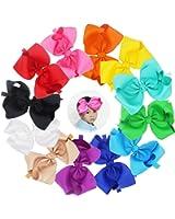 """12 Pcs 8"""" Baby Girls Mix Colored Solid Ribbon Big Larger Hair Bows Headbands"""