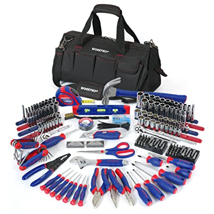 28907f15848 WORKPRO W009037A 322-Piece Home Repair Hand Tool Kit Basic Household Tool  Set with Carrying Bag - - Amazon.com