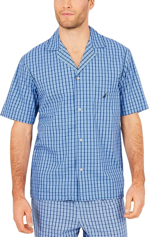 Nautica Mens Big-Tall Short Sleeve Mini Plaid Poplin Woven Shirt