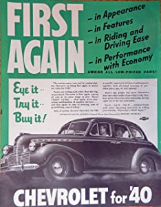 1940 Chevrolet Car, print ad. Full Page Color Illustration (eye it--try it--buy it!) Original Vintage 1939 The Saturday Evening Post Magazine Print Art