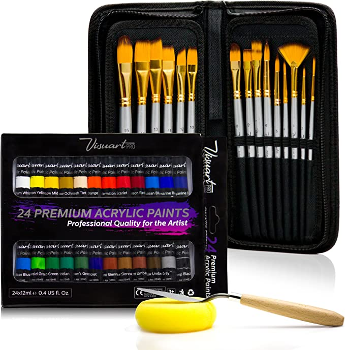 for Watercolor Oil or Acrylic w Carrying Case 15 Piece Artist Brush Set