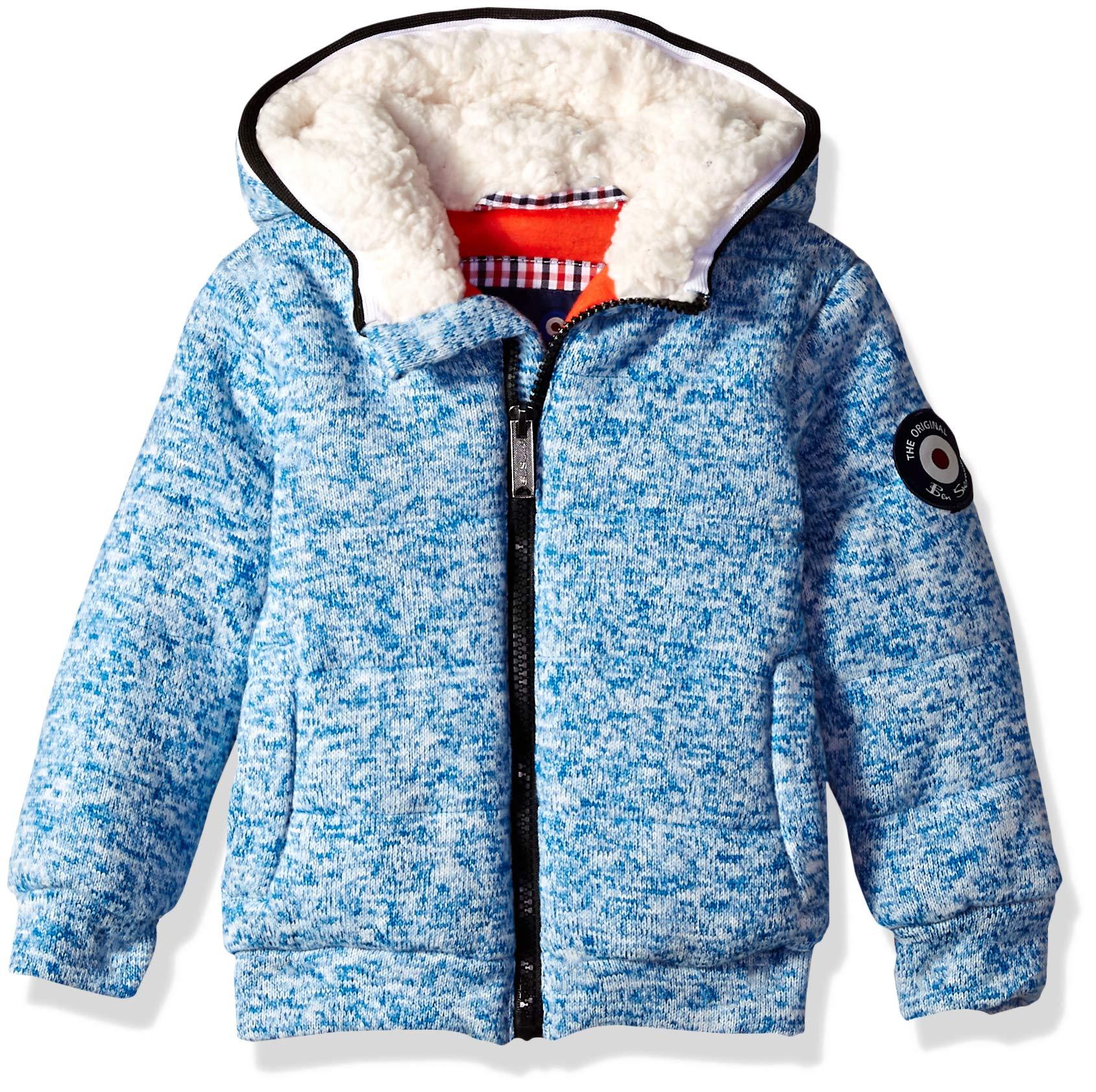 Ben Sherman Boys' Toddler Sweater Fleece Jacket, Heather Blue 4T