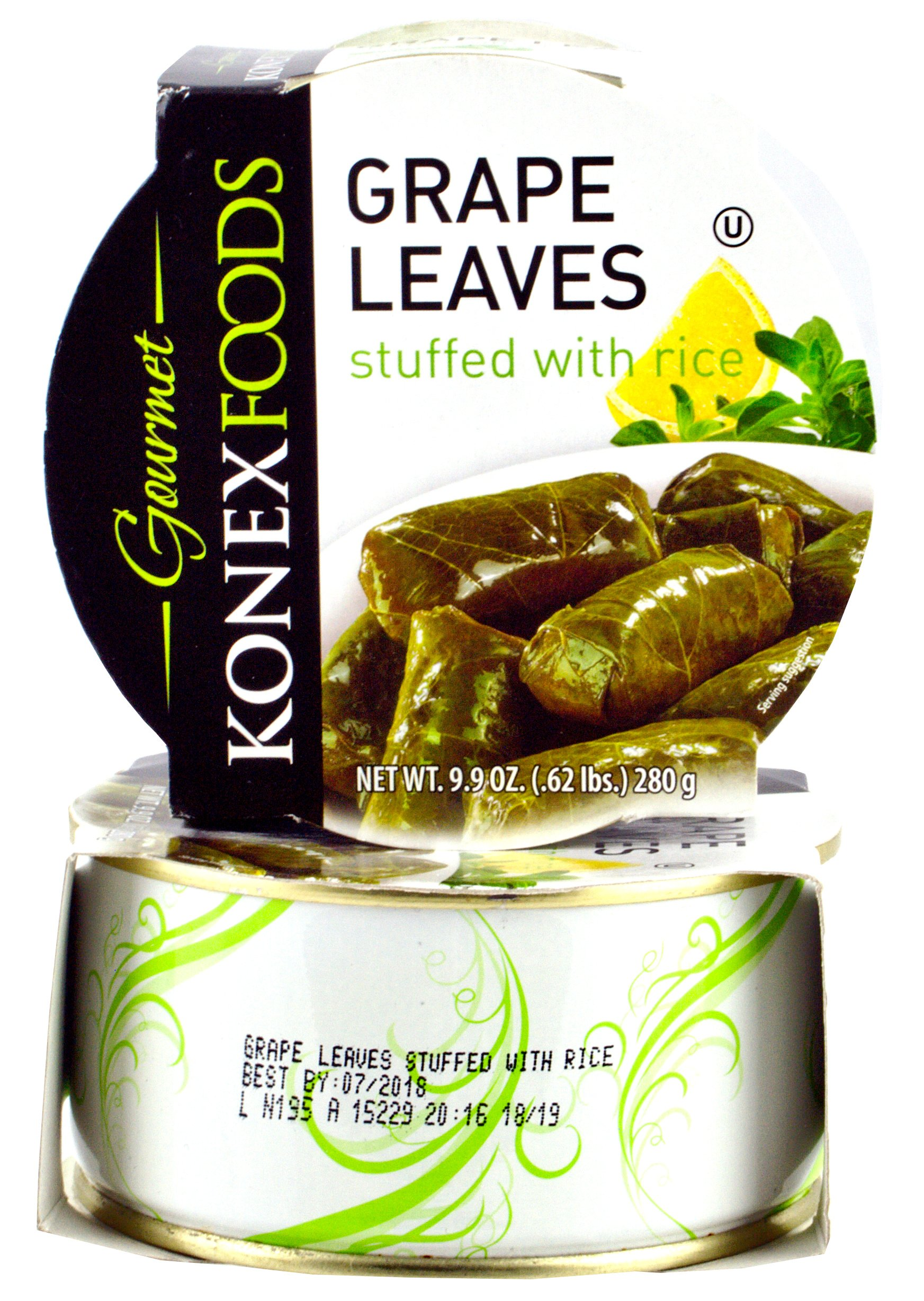 Konex Foods Gourmet Grape Leaves Stuffed with Rice, 9.9 Ounce (Pack of 2) by Konex Foods