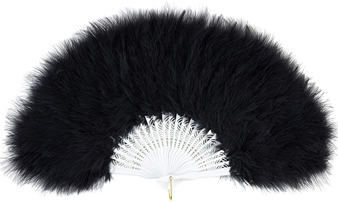 Edwardian Gloves, Handbag, Hair Combs, Wigs ArtiDeco 1920s Marabou Feather Fan Flapper Folding Hand Fans Feather Fan Handheld for 20s Vintage Gatsby Party £9.99 AT vintagedancer.com