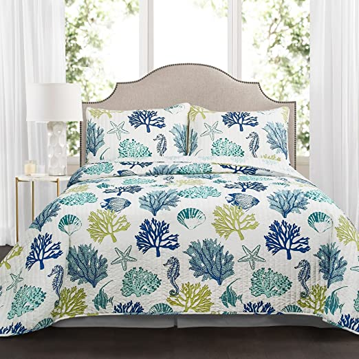 Ocean Quilted Bedspread /& Pillow Shams Set Starfish Anchor Seahorse Print