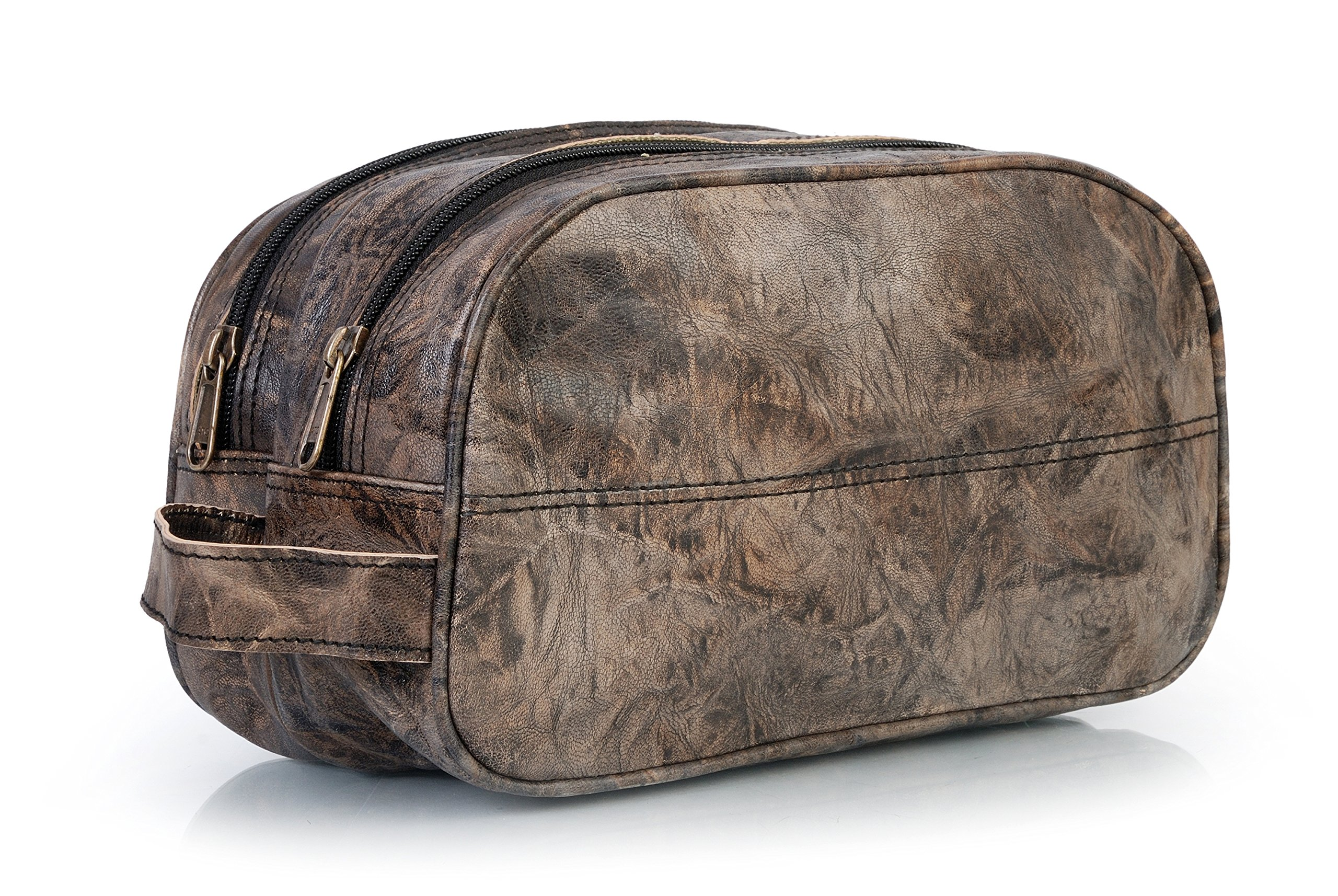 Purely handmade vintage leather toiletry bag  dopp kit / unisex cosmetic Antique bag