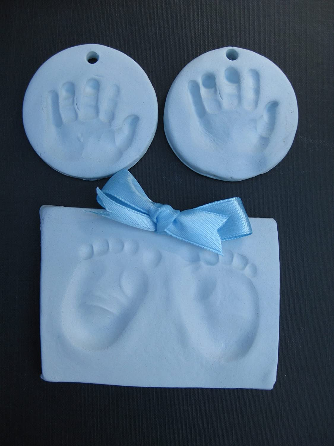 Soft blue baby handprint air drying clay kit- makes 4-6 newborn prints baby moose