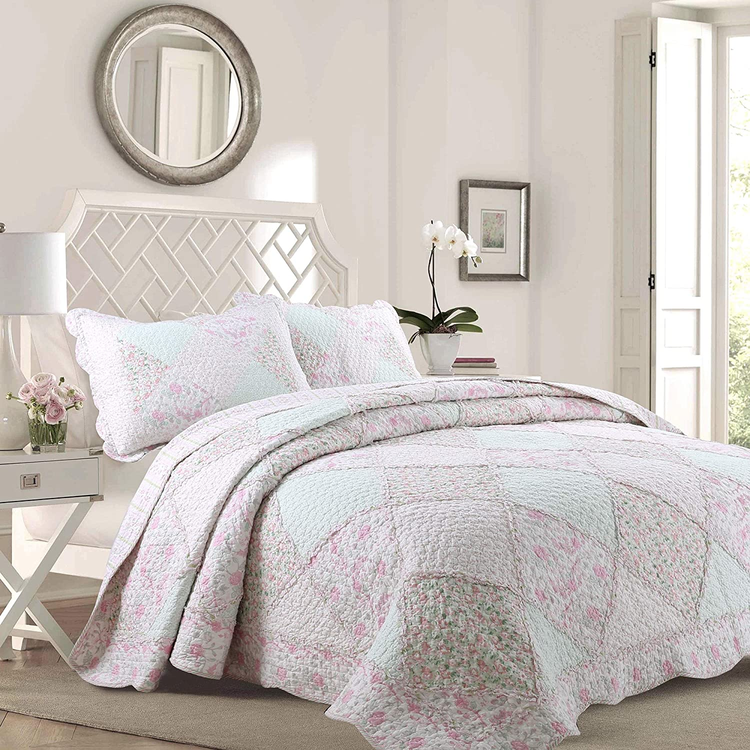Fancy Linen Quilted Coverlet Set Patchwork Floral Purple Green All Sizes New
