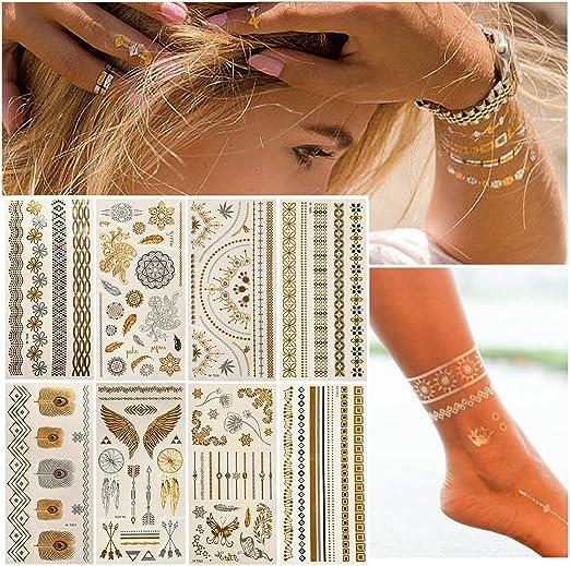 Tatuajes temporales metálicos dorados y plateados, resistentes al ...