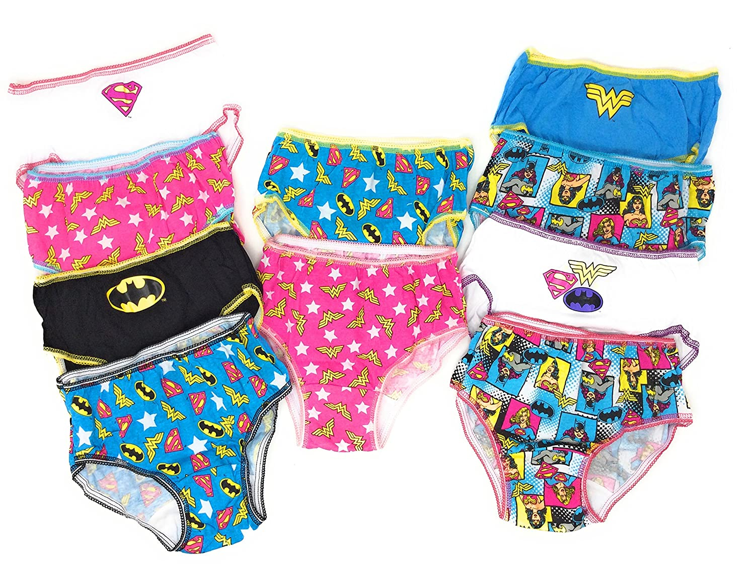 DC Comics Justice League 10-Pack Girls Panties Underwear Wonderwoman Supergirl Batgirl