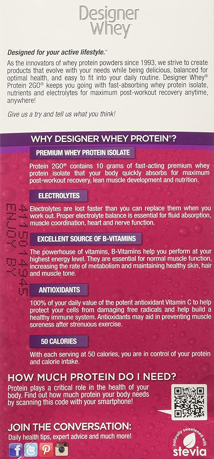 Designer Protein Protein 2Go Drink Mix, Mixed Berry, 5-0 56 oz Packets,  (Pack of 2)
