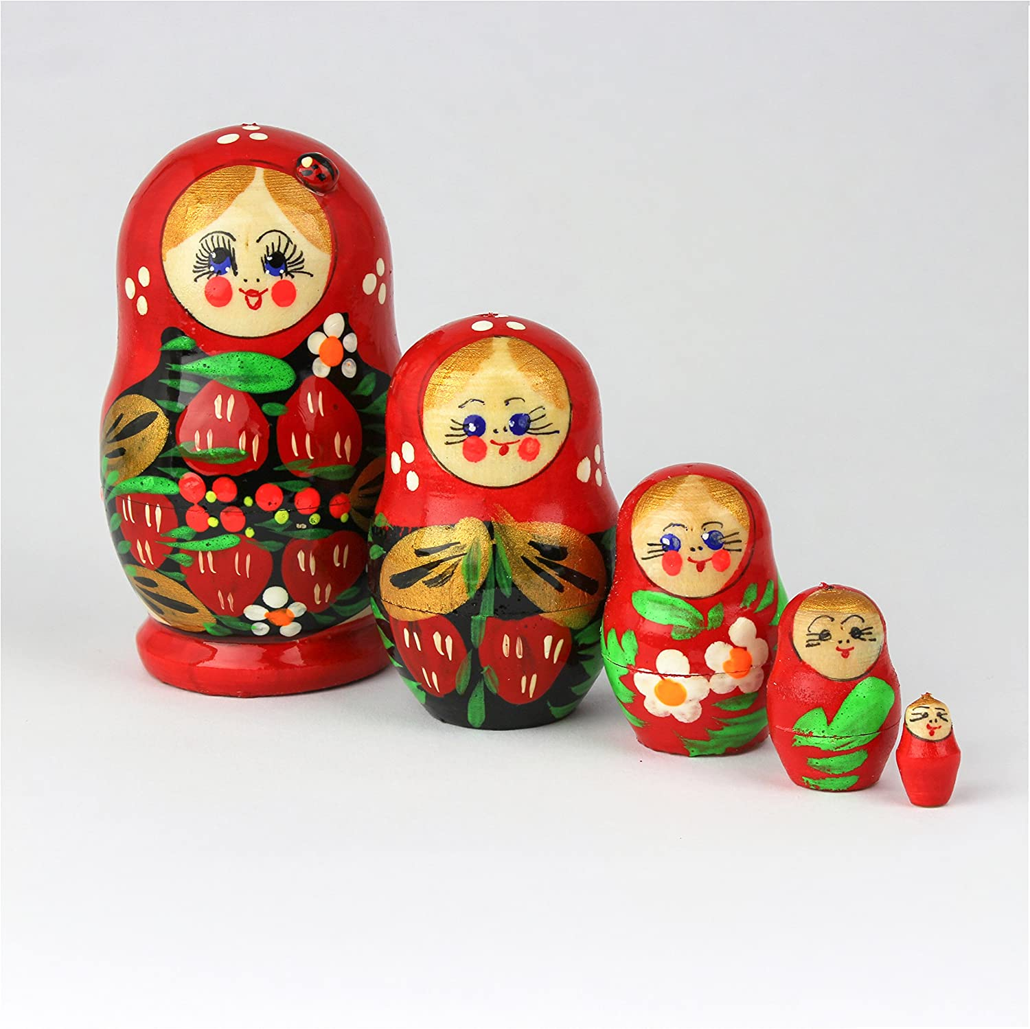 5 pcs Ladybug Heka Naturals Matryoshka Russian Nesting Dolls Hand Made in Russia 5 Pieces 9 cm Wooden Gift Toy