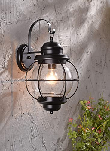 Kenroy Home 90961BL Casual 1 Light Small Wall Lantern, Extension with Black Finish