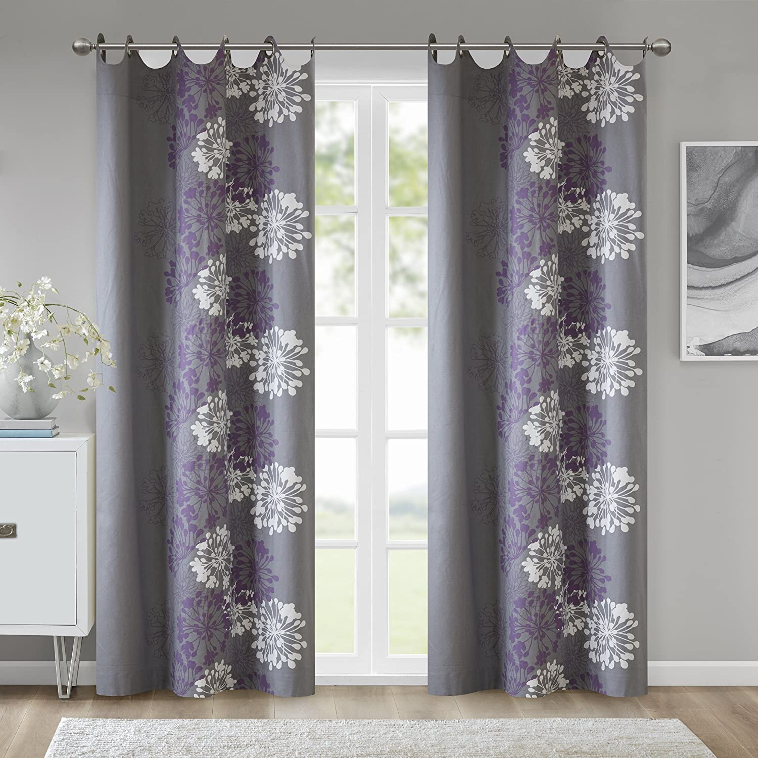 Amazon.com: Grey Purple Curtains for Living Room, Modern ...