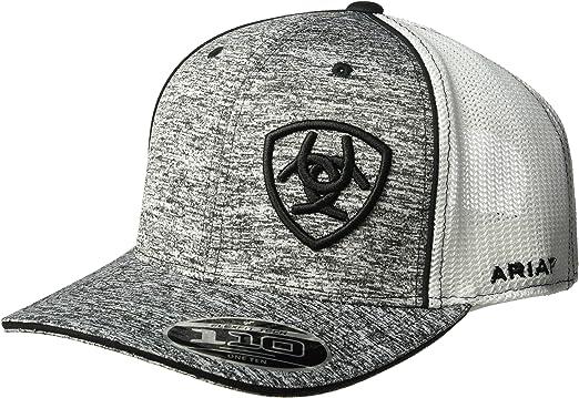 Ariat Mens Adjustable Mesh Corner Logo Cap Hat Grey//Black, One Size