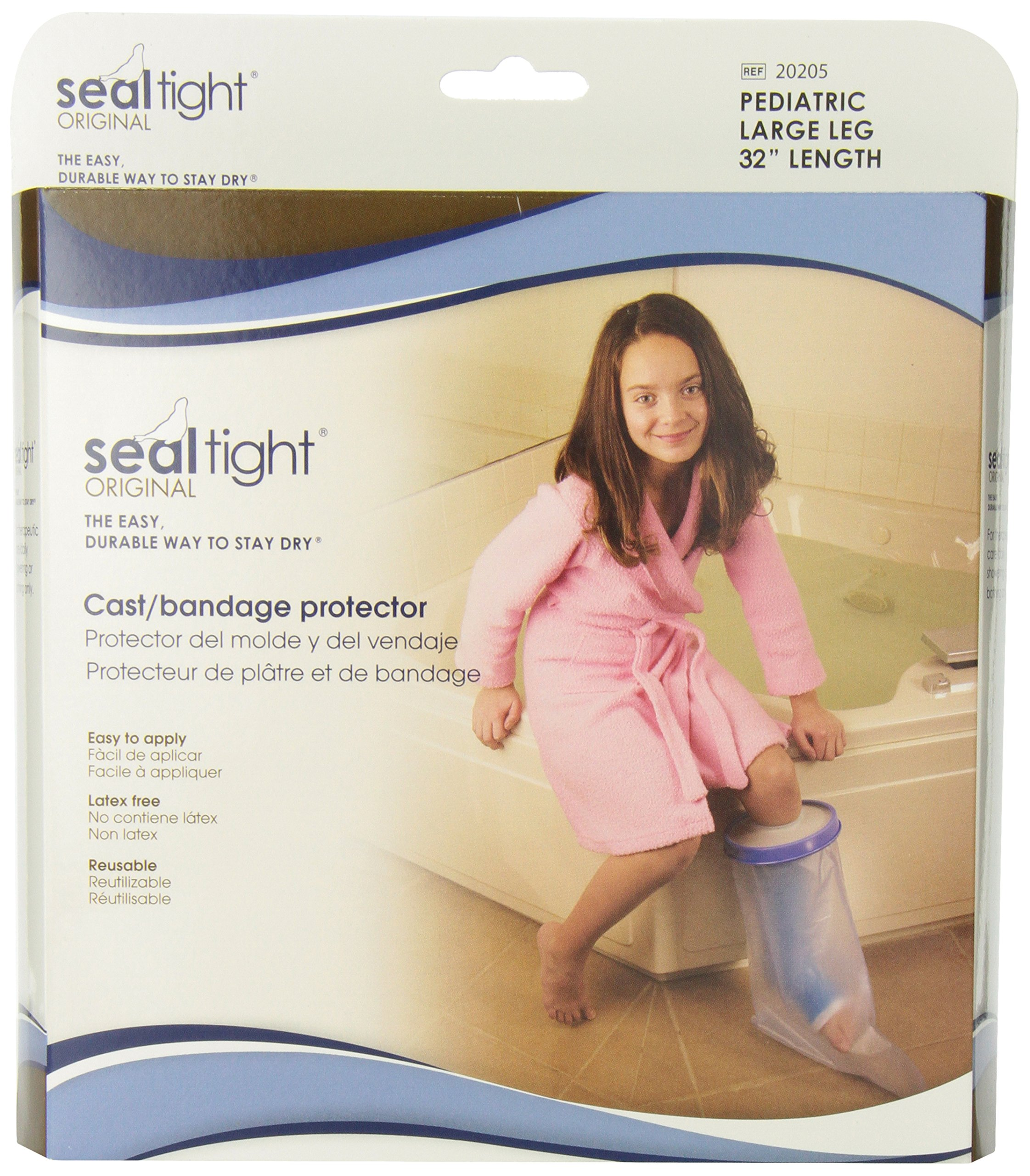 Seal Tight ORIGINAL Cast and Bandage Protector, Best Watertight Protection, Pediatric Large Leg by Brownmed