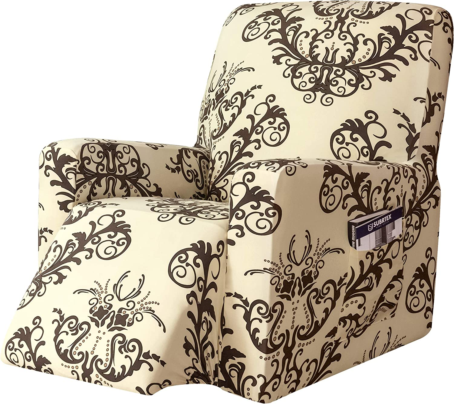 subrtex Printed Recliner Chair Slipcover Stretch Lazy Boy Covers for Leather Furniture Protector Rocker Sofa Cover with Side Pocket (Coffee)