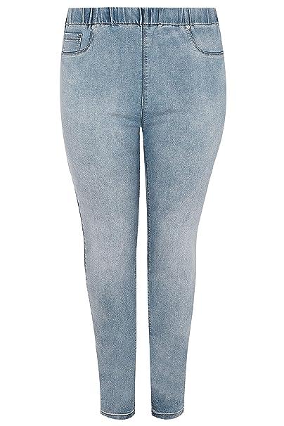 Yours Clothing Women/'s Plus Size Blue Acid Wash Skinny Jenny Jeggings